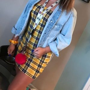 Yellow plaid mini dress